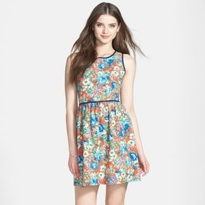 Soprano Piped Fit and Flare Dress Floral